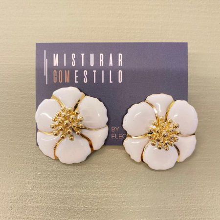 Brinco Flor Sevilha - Branca