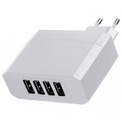 CARREGADOR DE PAREDE COM 4 SAIDAS USB/BIVOLT 4.8A
