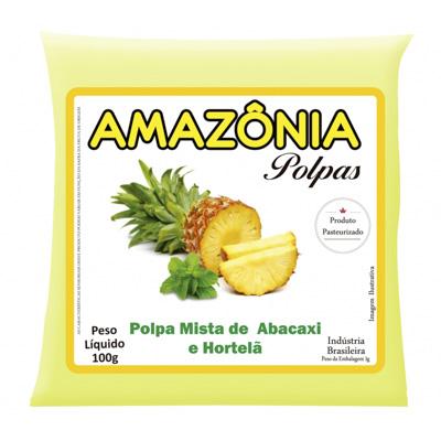 POLPA DE ABACAXI C/HORTELÃ PACOTE 100G AMAZÔNIA