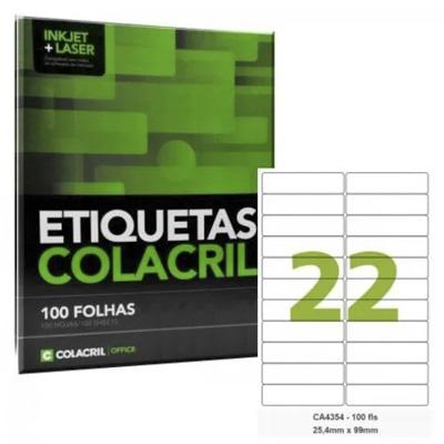 ETIQUETAS ADESIVAS P/IMPRESSORAS INKJET+LASER 254MMX99MM