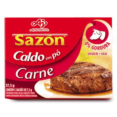 CALDO EM PÓ SAZON 37,5G CARNE CONTÉM 5 SACHÊS DE 7,5G