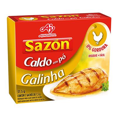 CALDO EM PÓ SAZON 37,5G GALINHA CONTÉM 5 SACHÊS DE 7,5G