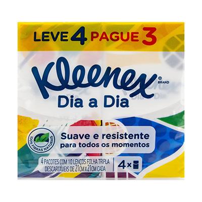 LENÇO DE PAPEL KLEENEX 4 PACOTES C/ 10 UNIDADES