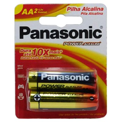 PILHA ALCALINA PANASONIC POWER ALKALINE AA PACOTE C/ 2 UNIDADES