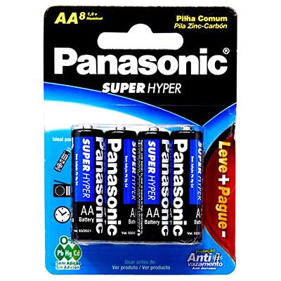 PILHA COMUM PANASONIC SUPER HYDER AA PACOTE C/ 8 UNIDADES