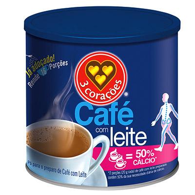 CAFÉ COM LEITE EM 50% CÁLCIO 3 CORAÇÕES LATA 330G
