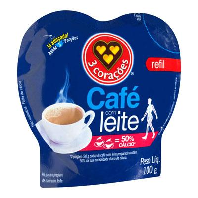 CAFÉ COM LEITE EM 50% CÁLCIO 3 CORAÇÕES REFIL 100G