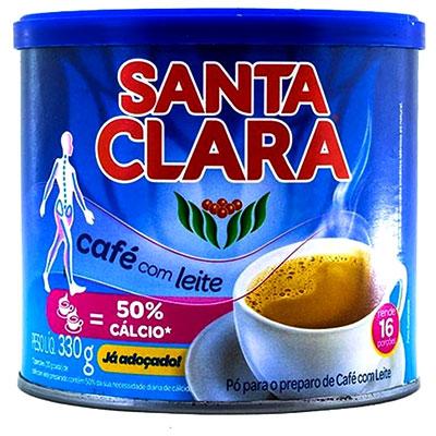 CAFÉ COM LEITE EM 50% CÁLCIO SANTA CLARA LATA 330G