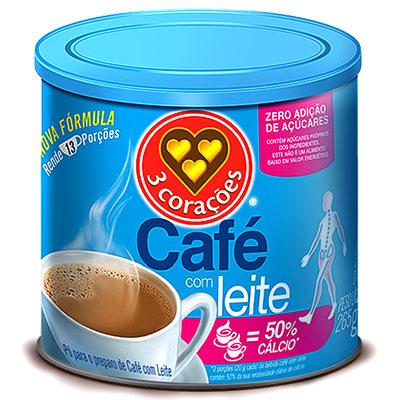 CAFÉ LEITE EM 50% CÁLCIO ZERO AÇÚCAR 3 CORAÇÕES LATA 265G
