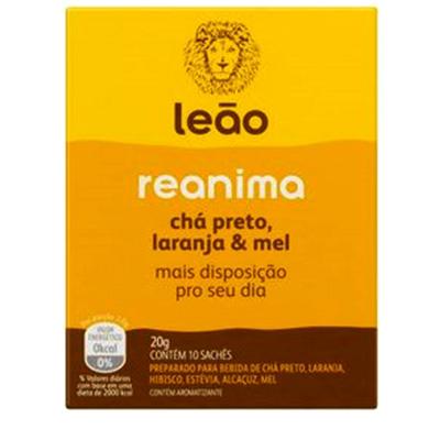 CHÁ LEÃO REANIMA - CHÁ PRETO LARANJA & MEL 20G CAIXA C/ 10 SACHÊ
