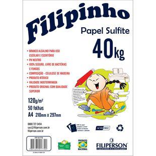 PAPEL SULFITE 40KG 120G C/50 FOLHAS FILIPINHO