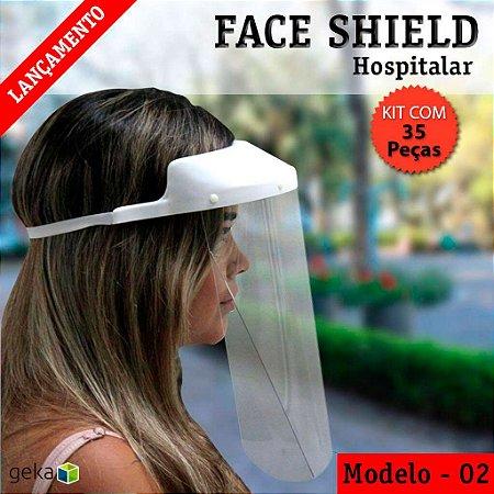 FACE SHIELD MODELO 2 – HOSPITALAR - KIT COM 35 PEÇAS