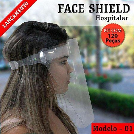 FACE SHIELD MODELO 1 – HOSPITALAR - KIT COM 120 PEÇAS