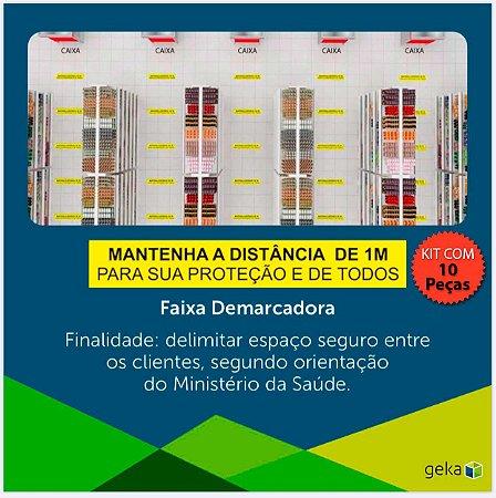 FITA DEMARCADORA DE DISTANCIAMENTO  - KIT COM 10 PEÇAS