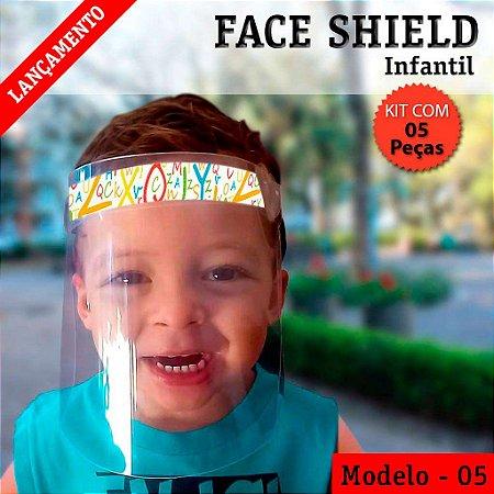 FACE SHIELD MODELO 5 – INFANTIL - USO COMUM - KIT COM 5 PEÇAS
