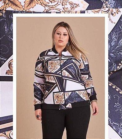 Jaqueta Neoprene com Zíper Estampada Plus Size