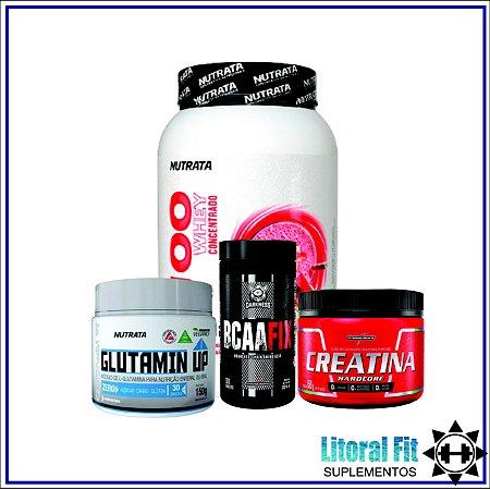 Combo Densidade Muscular (Whey, Creatina, BCAA e Glutamina)