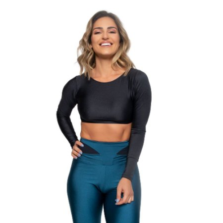 Cropped Fitness Poliamida Trilobal Uv 50+ - Preto