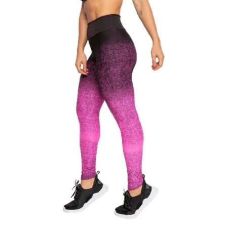 Legging Fitness Poliamida Jacquard – preta e rosa