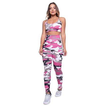 Conjunto Fitness Camuflado - Rosa camuflado