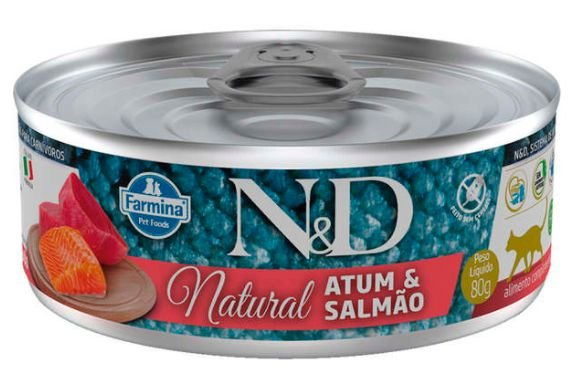 Lata N&d Gato Ad Natural Atum e Salmão 80g