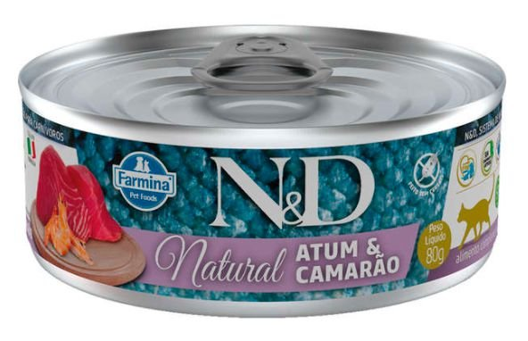 Lata N&d Gato Ad Natural Atum e Camarão 80g
