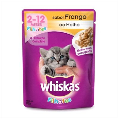 Sache Whiskas Gato Filhote Frango Ao Molho 85g