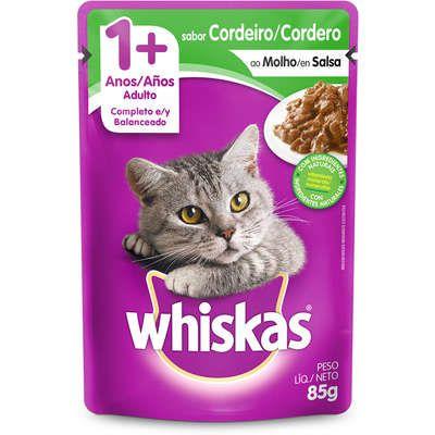 Sache Whiskas Gato Adulto 1+ Cordeiro Ao Molho 85g