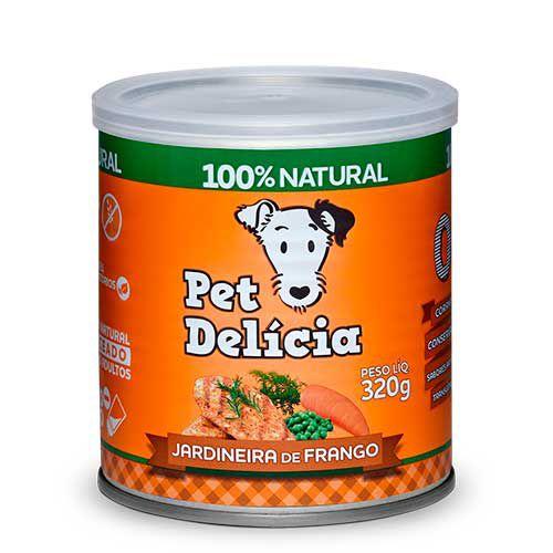 Lata Pet Delicia Cão Adulto Jardineira Frango 320g