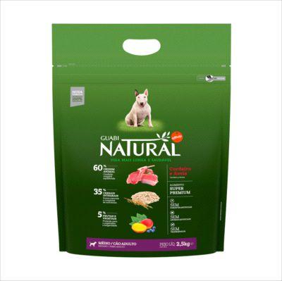Ração Guabi Natural Cao Adulto Raça Média Cordeiro E Aveia 2,5kg