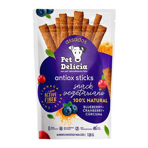 Snack Pet Delícia Antiox Sticks Blueberry, Cranberry e Cúrcuma 120g