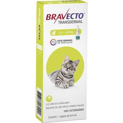 Bravecto Transdermal Gatos 1,2 A 2,8kg 112,5mg