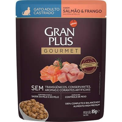 Sache Gran Plus Gourmet Gato Adulto Castrado Salmão E Frango 85g