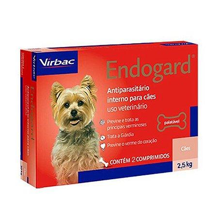 Vermífugo Endogard Cão Até 2,5kg Caixa Com 2 Comprimidos