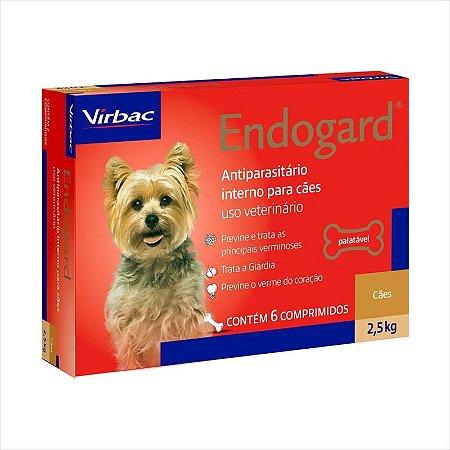 Vermífugo Endogard Cão Até 2,5kg Caixa Com 6 Comprimidos
