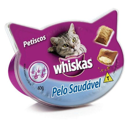 Snack Whiskas Temptations Gato Adulto Pelo Saudável 40g