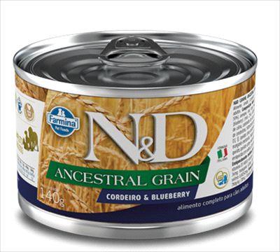 Lata N&D Ancestral Grain Cão Adulto Cordeiro E Blueberry 140g