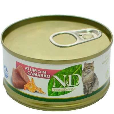 Lata N&D Gato Adulto Atum Com Camarão 70g