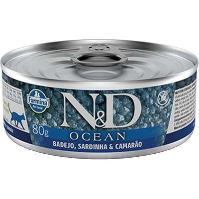 Lata N&D Ocean Gato Adulto Badejo Sardinha E Camarão 80g