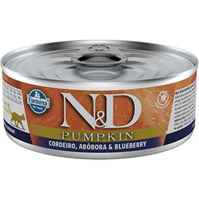 Lata N&D Pumpkin Gato Adulto Cordeiro Abóbora E Blueberry 80g