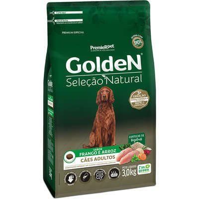 Ração Golden Seleção Natural Cão Adulto Frango E Arroz 3kg