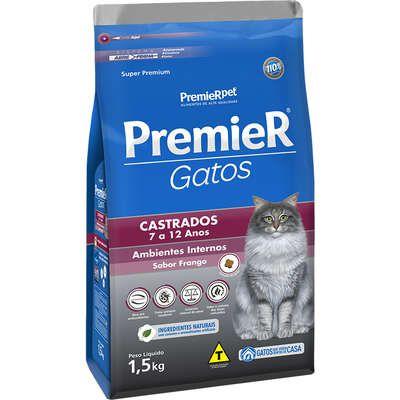 Ração Premier Ambientes Internos Gato Castrado 7a12 Anos Frango 1,5kg