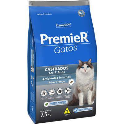 Ração Premier Ambientes Internos Gato Castrado Ate 7 Anos Frango 7,5kg