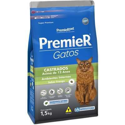 Ração Premier Ambientes Internos Gato Castrado +12 Anos Frango 1,5Kg