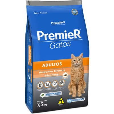 Ração Premier Ambientes Internos Gato Adulto Frango 7,5kg