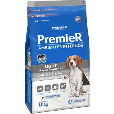 Ração Premier Ambientes Internos Light Cão Adulto Raça Pequena Frango E Salmão 12kg