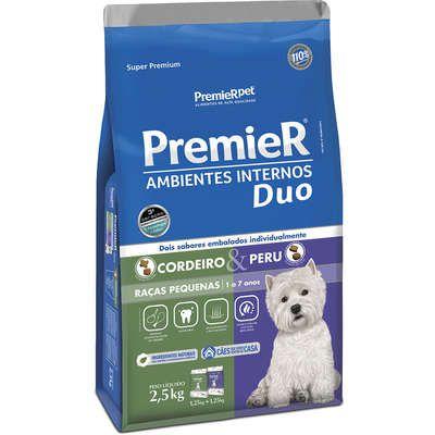 Ração Premier Ambientes Internos Duo Cão Adulto Raça Pequena Cordeiro E Peru 2,5kg