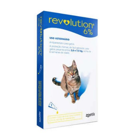 Antipulga Revolution 6% Gato 2,6 A 7,5kg 0,75ml Caixa Com 1 Pipeta