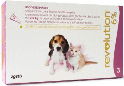 Antipulga Revolution 6% Cao/Gato Ate 2,5kg 0,25ml Caixa Com 3 Pipeta