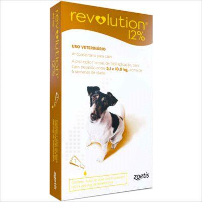 Antipulga Revolution 12% Cao 5 A 10kg 0,50ml Caixa Com 1 Pipeta
